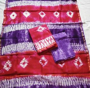 Unstitched Chanderi Silk Shibori Print Suit 02