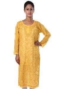 Ladies Lucknowi Long Kurtis=>Ladies Lucknowi Long Kurti (10654)