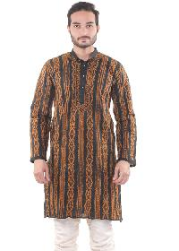 Mens Lucknowi Long Kurta=>Mens Lucknowi Long Kurta (10255)