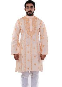 Mens Lucknowi Long Kurta=>Mens Lucknowi Long Kurta (10555)