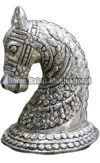 Silver Coated Wooden Horse 01