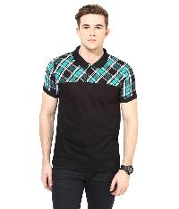 T-shirt Black Checks Cotton Polo Neck