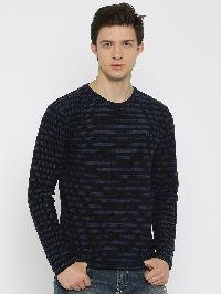 Mens Black T-Shirt Striped Round Neck