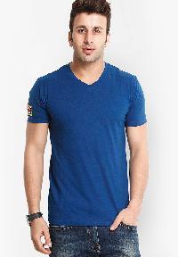 Mens Solid Blue V Neck T-shirt