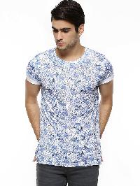 Mens T-shirt Blue Overall Printed  Flower