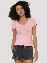 V Neck T-shirt Baby Pink