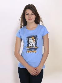 Women Round Neck Blue T-shirt