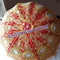 Wedding Embroidered Reddish Golden Umbrella