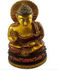 Handmade Wooden Gold Work Buddha Statue