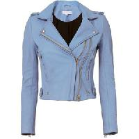 Ladies Sky Blue Fashion Leather Jackets