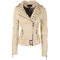 Ladies Designer Cream Fashion Leather Jackets