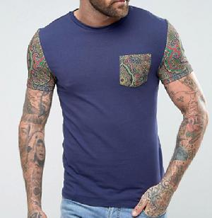 Mens Blue Round Neck T-Shirts