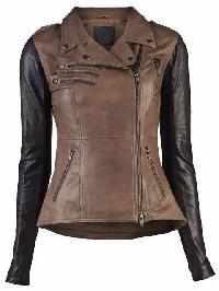 Ladies Brown & Black Fashion Leather Jacket