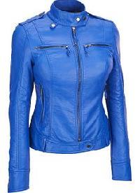 Ladies Leather Royal Blue Jacket
