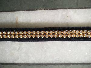 2 Line Zircon Chain Fusion Velvet Ribbon Laces