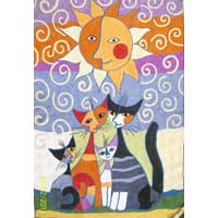 Cat Design Chain Stitched Rug 01