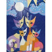 Cat Design Chain Stitched Rug 02