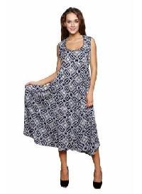 Ladies One Piece Dress - 5211 grey black dress