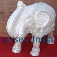 White Fiber Elephant Statue