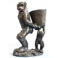 Brass Chimpanzee Statue