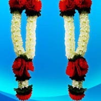 Red Flower With Jasmine Artificial Garland