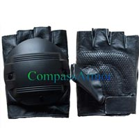 Leather Anti Riot Half Finger Gloves