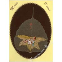 Straw Work On Peepul Leaf Greeting Card 02