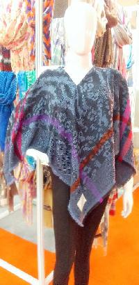 Wool  Cotton Jacquard Poncho (EC-5208)