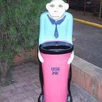 FRP Animal Shaped Dustbins=>Monkey Dustbin