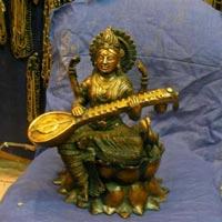 Brass Saraswati Statue-02