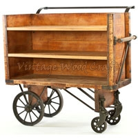 Industrial Cart with Wooden Shelf