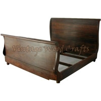 Wooden Panel Headboard Bed