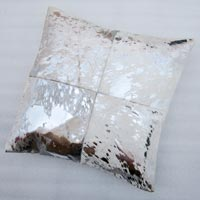 Acid Rain Wash Hair-On Hide Cushion (Silver On White)