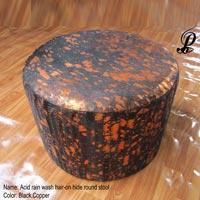 Acid Rain Wash Hair-on Hide Round Stool (Black & Copper)