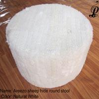 Areezo Sheep Hide Round Stool (Natural White)