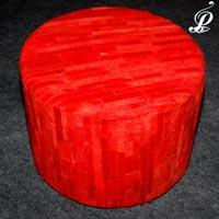 Areezo Sheep Hide Round Stool (Red)