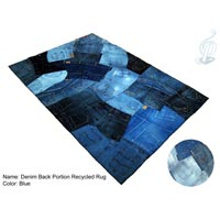 Denim Back Portion Recycled Rug (Blue)