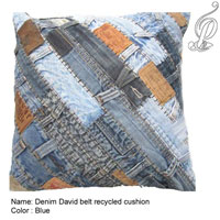 Denim David Belt Recycled Cushion (Blue)