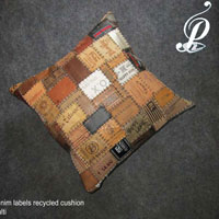 Denim Labels Recycled Cushion (Multi)