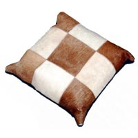 Hair on Hide Cushions (White & Brown)