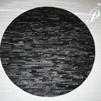 Pretoria Hair-on Hide Round Carpet (natural Black)