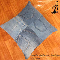 Recycled Denim Bank Portion Cushion (Blue)