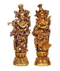 Brass Radha Krishna Statue 01