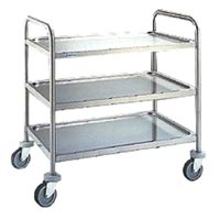 Stainless Steel Double Shelf Trolley