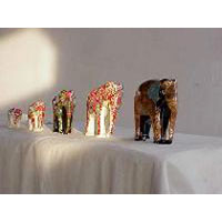 Wood Carved Elephant Set