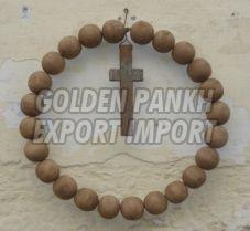 Handmade Wooden Beaded Cross Wreath