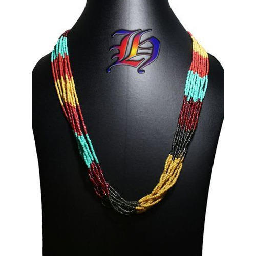 Color Blocked Seed Beaded Necklace
