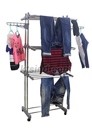 Double Pole 3 Tier Stainless Steel Cloth Drying Stand