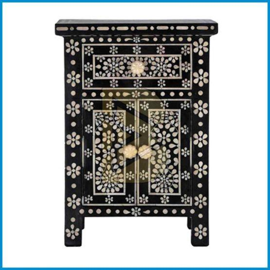 Bone Inlay Butterfly Design Black Bedside Table 01