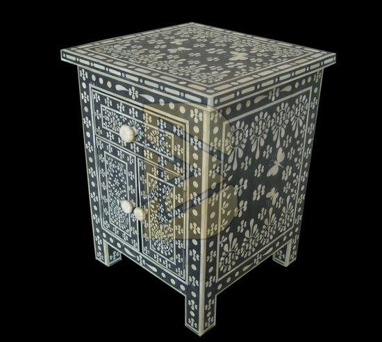 Bone Inlay Butterfly Design Black Bedside Table 02